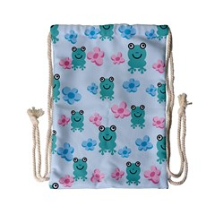 Frog Green Pink Flower Drawstring Bag (Small)