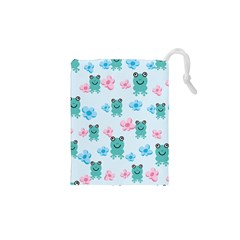 Frog Green Pink Flower Drawstring Pouches (XS)