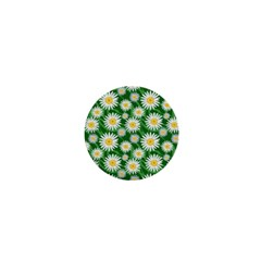 Flower Sunflower Yellow Green Leaf White 1  Mini Buttons