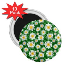 Flower Sunflower Yellow Green Leaf White 2.25  Magnets (10 pack)