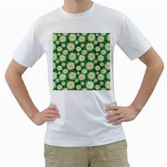 Flower Sunflower Yellow Green Leaf White Men s T-Shirt (White) (Two Sided)