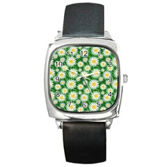 Flower Sunflower Yellow Green Leaf White Square Metal Watch