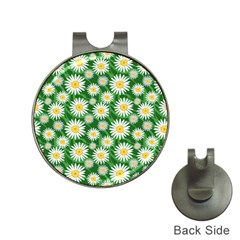 Flower Sunflower Yellow Green Leaf White Hat Clips with Golf Markers