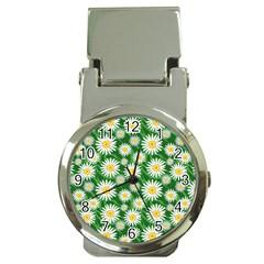 Flower Sunflower Yellow Green Leaf White Money Clip Watches