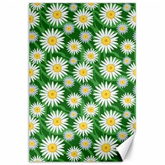 Flower Sunflower Yellow Green Leaf White Canvas 24  x 36