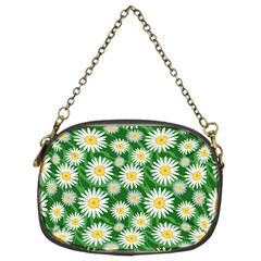 Flower Sunflower Yellow Green Leaf White Chain Purses (Two Sides)