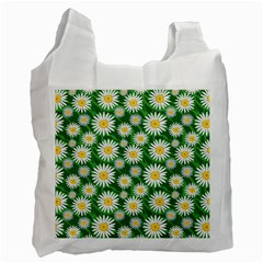 Flower Sunflower Yellow Green Leaf White Recycle Bag (One Side)