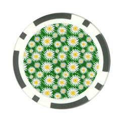 Flower Sunflower Yellow Green Leaf White Poker Chip Card Guard (10 pack)