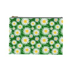Flower Sunflower Yellow Green Leaf White Cosmetic Bag (Large)