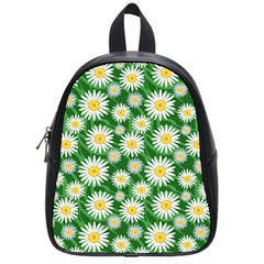 Flower Sunflower Yellow Green Leaf White School Bags (Small)