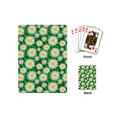 Flower Sunflower Yellow Green Leaf White Playing Cards (Mini)