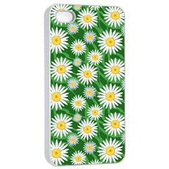 Flower Sunflower Yellow Green Leaf White Apple iPhone 4/4s Seamless Case (White)