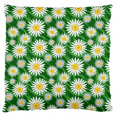 Flower Sunflower Yellow Green Leaf White Large Cushion Case (Two Sides)