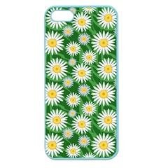 Flower Sunflower Yellow Green Leaf White Apple Seamless iPhone 5 Case (Color)
