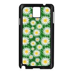 Flower Sunflower Yellow Green Leaf White Samsung Galaxy Note 3 N9005 Case (Black)