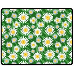 Flower Sunflower Yellow Green Leaf White Double Sided Fleece Blanket (medium)