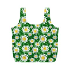 Flower Sunflower Yellow Green Leaf White Full Print Recycle Bags (m)