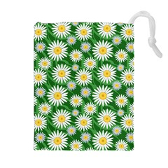 Flower Sunflower Yellow Green Leaf White Drawstring Pouches (Extra Large)