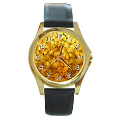 Gold Round Gold Metal Watch