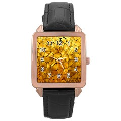 Gold Rose Gold Leather Watch