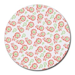 Flower Floral Red Star Sunflower Round Mousepads