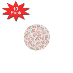 Flower Floral Red Star Sunflower 1  Mini Buttons (10 pack)
