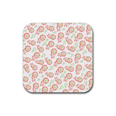 Flower Floral Red Star Sunflower Rubber Square Coaster (4 pack)