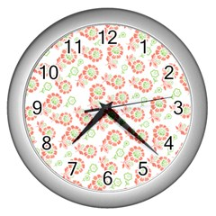 Flower Floral Red Star Sunflower Wall Clocks (Silver)
