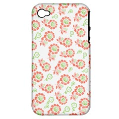 Flower Floral Red Star Sunflower Apple iPhone 4/4S Hardshell Case (PC+Silicone)