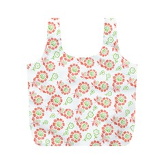 Flower Floral Red Star Sunflower Full Print Recycle Bags (M)