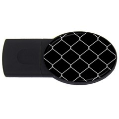 Iron Wire White Black USB Flash Drive Oval (1 GB)