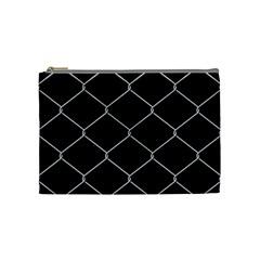 Iron Wire White Black Cosmetic Bag (Medium)
