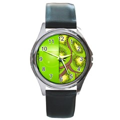 Fruit Slice Kiwi Green Round Metal Watch
