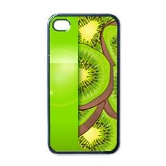 Fruit Slice Kiwi Green Apple Iphone 4 Case (black)