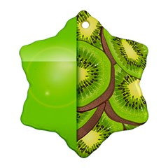 Fruit Slice Kiwi Green Snowflake Ornament (Two Sides)