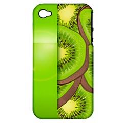 Fruit Slice Kiwi Green Apple iPhone 4/4S Hardshell Case (PC+Silicone)