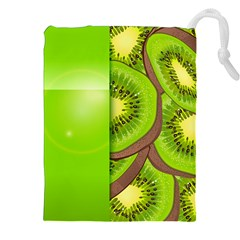 Fruit Slice Kiwi Green Drawstring Pouches (XXL)
