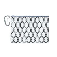 Iron Wire Black White Canvas Cosmetic Bag (M)