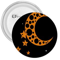 Moon Star Space Orange Black Light Night Circle Polka 3  Buttons