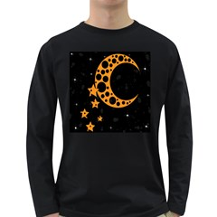 Moon Star Space Orange Black Light Night Circle Polka Long Sleeve Dark T-Shirts