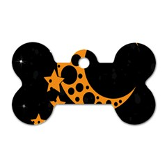 Moon Star Space Orange Black Light Night Circle Polka Dog Tag Bone (One Side)