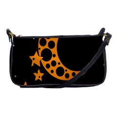 Moon Star Space Orange Black Light Night Circle Polka Shoulder Clutch Bags