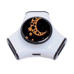 Moon Star Space Orange Black Light Night Circle Polka 3-Port USB Hub