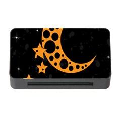 Moon Star Space Orange Black Light Night Circle Polka Memory Card Reader with CF