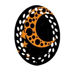 Moon Star Space Orange Black Light Night Circle Polka Oval Filigree Ornament (Two Sides)