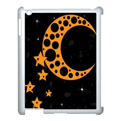 Moon Star Space Orange Black Light Night Circle Polka Apple iPad 3/4 Case (White)