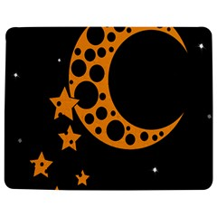 Moon Star Space Orange Black Light Night Circle Polka Jigsaw Puzzle Photo Stand (Rectangular)