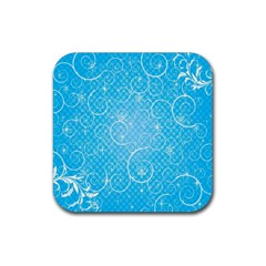 Leaf Blue Snow Circle Polka Star Rubber Square Coaster (4 pack)