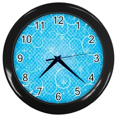 Leaf Blue Snow Circle Polka Star Wall Clocks (Black)