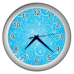 Leaf Blue Snow Circle Polka Star Wall Clocks (Silver)